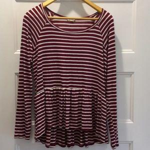 Tops - Burgundy striped knit peplum top